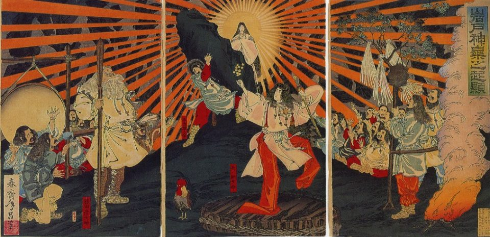La dea Amaterasu esce dalla caverna e illumina la Terra.