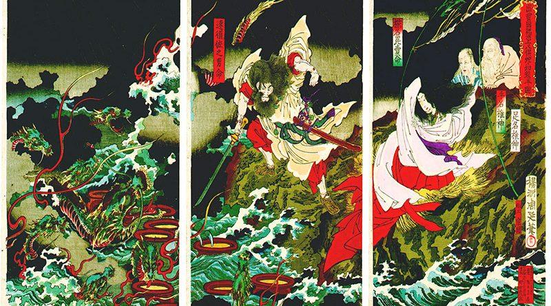 Il dio Susanoo sconfigge il mostruoso Yamata no Orochi.