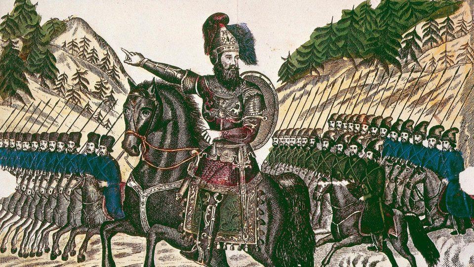 Ermak-Timofeevič alla guida dei suoi cosacchi.
