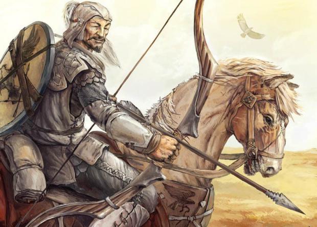Guerriero a cavallo delle steppe siberiane.