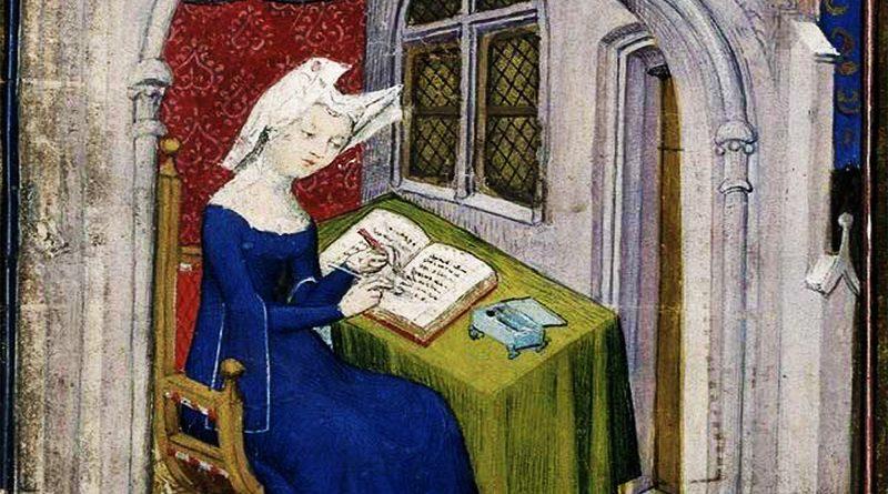 Christine de Pizan in una miniatura medievale. Fu tra le più grandi intellettuali del Medioevo.